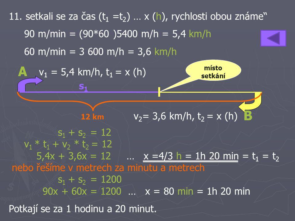 A B 11. setkali se za čas (t1 =t2) … x (h), rychlosti obou známe