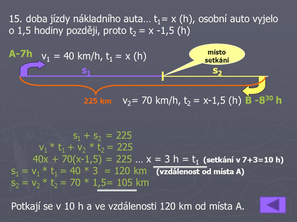 40x + 70(x-1,5) = 225 … x = 3 h = t1 (setkání v 7+3=10 h)