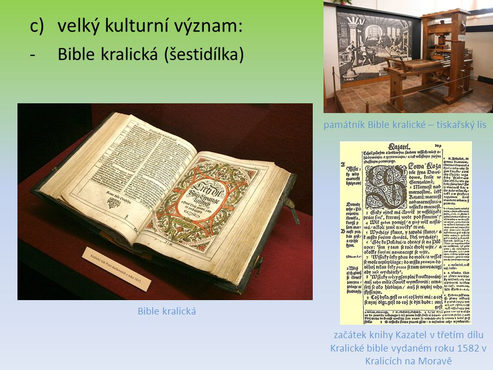 památník Bible kralické – tiskařský lis
