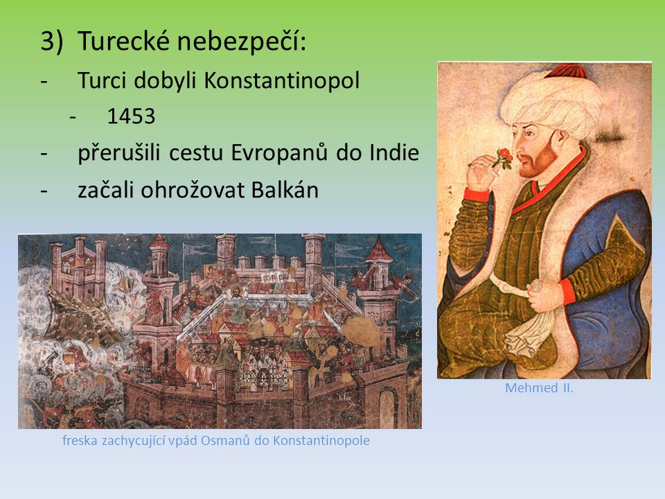freska zachycující vpád Osmanů do Konstantinopole