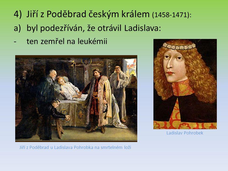 Jiří z Poděbrad u Ladislava Pohrobka na smrtelném loži