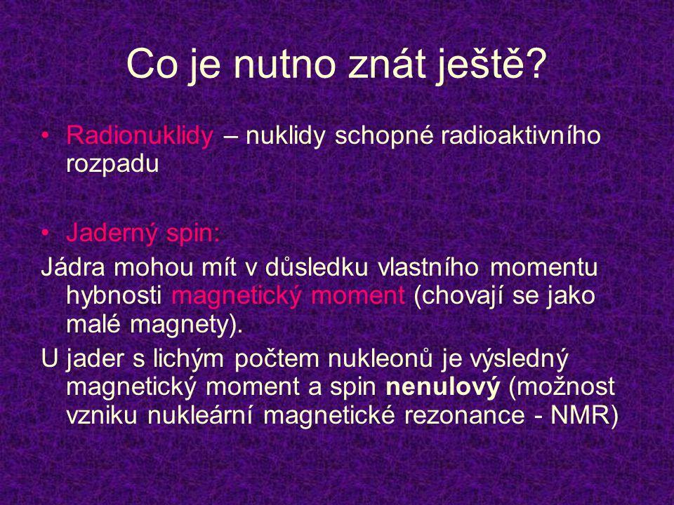 Co je nutno znát ještě Radionuklidy – nuklidy schopné radioaktivního rozpadu. Jaderný spin: