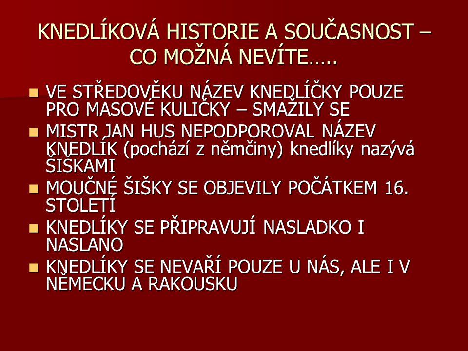 KNEDLÍKOVÁ HISTORIE A SOUČASNOST – CO MOŽNÁ NEVÍTE…..