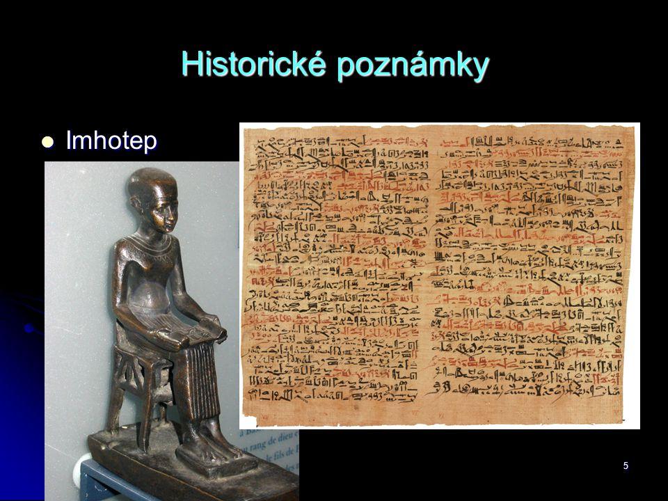 Historické poznámky Imhotep