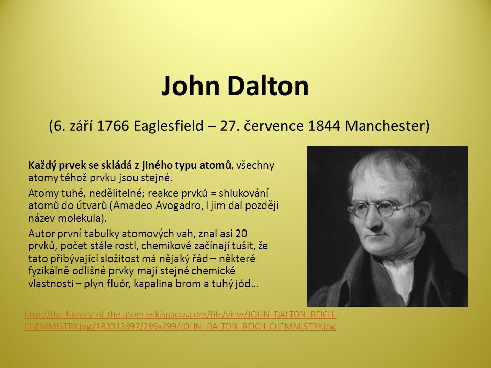 John Dalton (6. září 1766 Eaglesfield – 27. července 1844 Manchester)