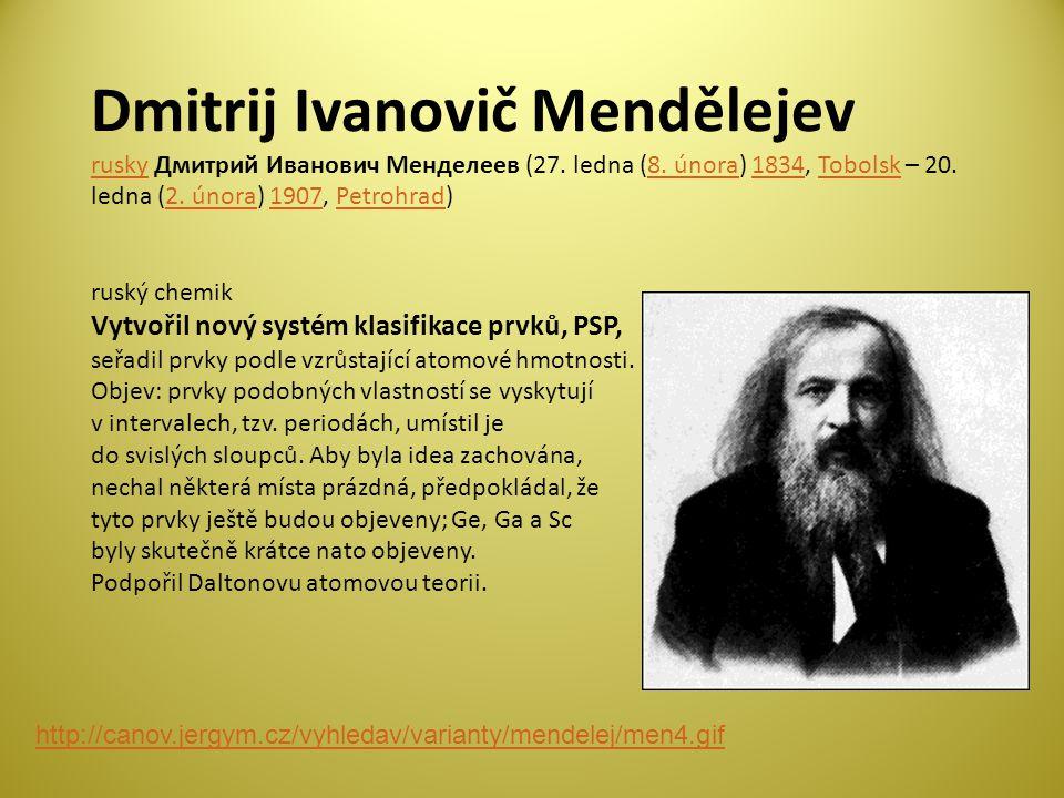 Dmitrij Ivanovič Mendělejev rusky Дмитрий Иванович Менделеев (27