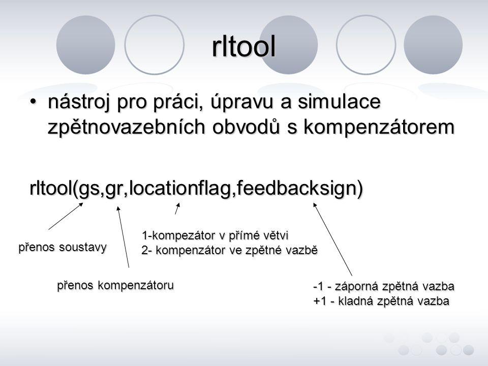 rltool nástroj pro práci, úpravu a simulace zpětnovazebních obvodů s kompenzátorem. rltool(gs,gr,locationflag,feedbacksign)