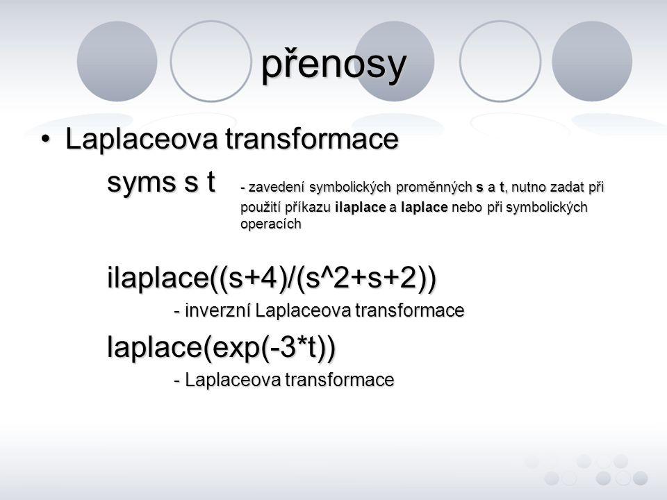 přenosy Laplaceova transformace