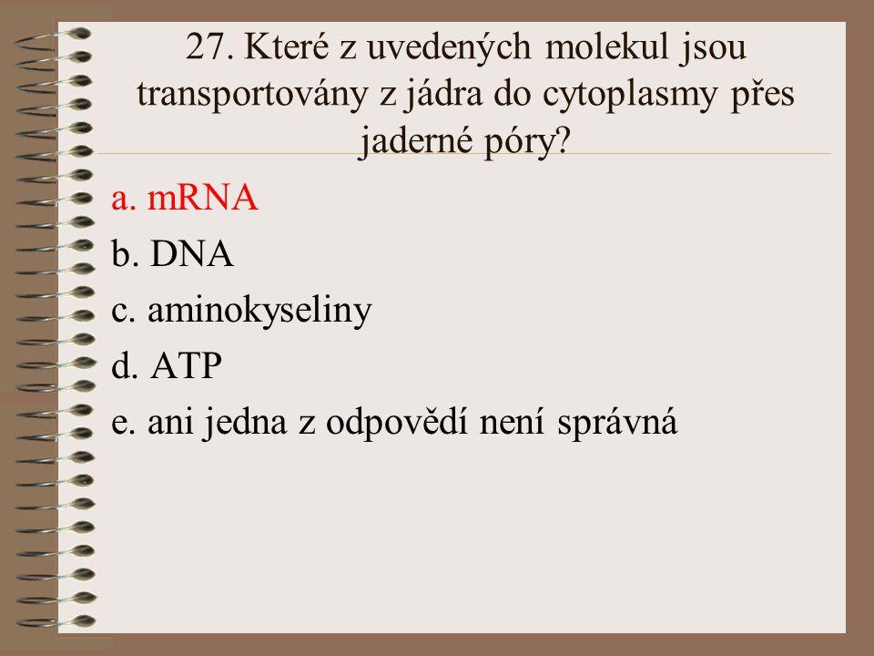 27. Které z uvedených molekul jsou transportovány z jádra do cytoplasmy přes jaderné póry