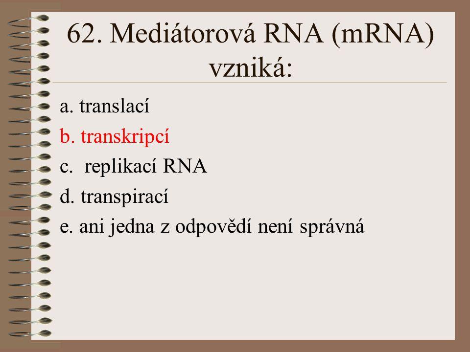 62. Mediátorová RNA (mRNA) vzniká: