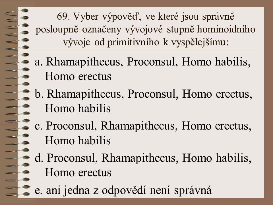 a. Rhamapithecus, Proconsul, Homo habilis, Homo erectus