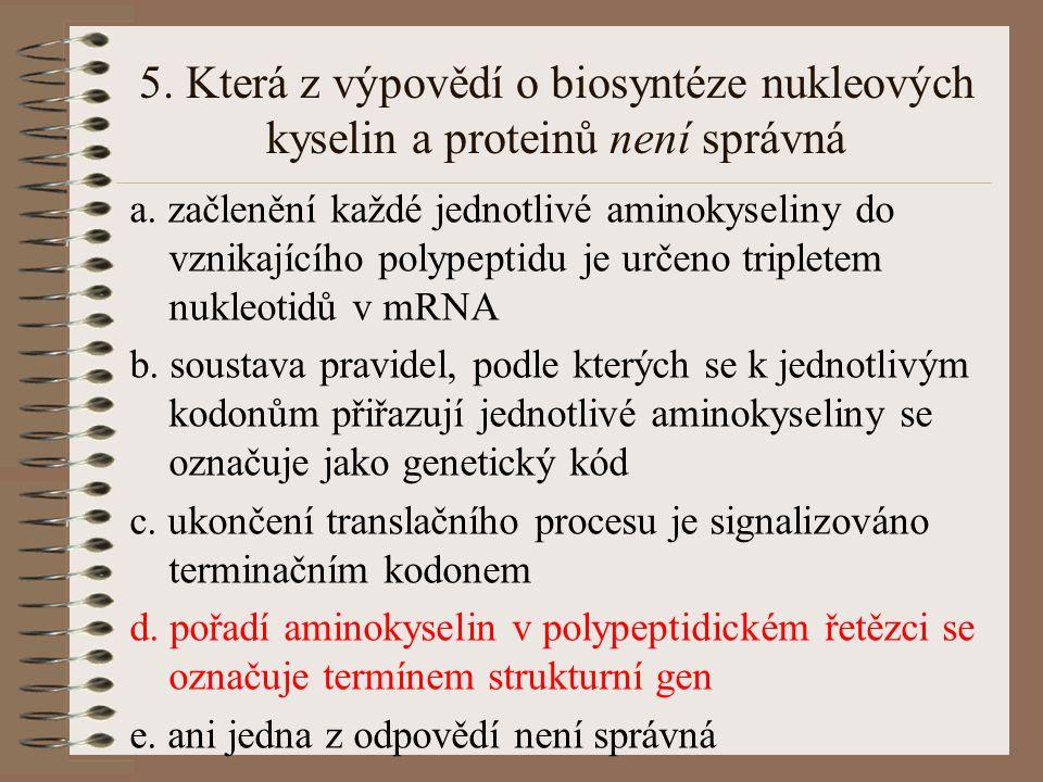 5. Která z výpovědí o biosyntéze nukleových kyselin a proteinů není správná