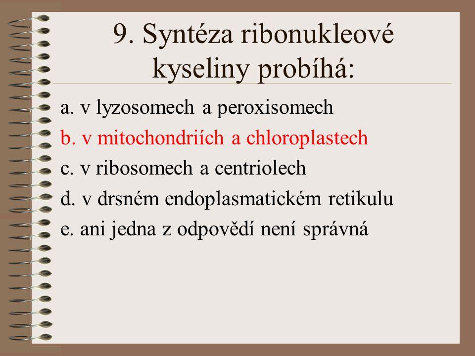 9. Syntéza ribonukleové kyseliny probíhá: