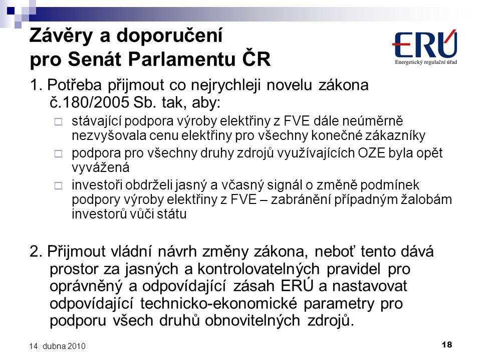 Závěry a doporučení pro Senát Parlamentu ČR