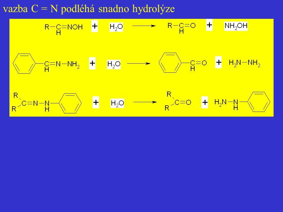 vazba C = N podléhá snadno hydrolýze