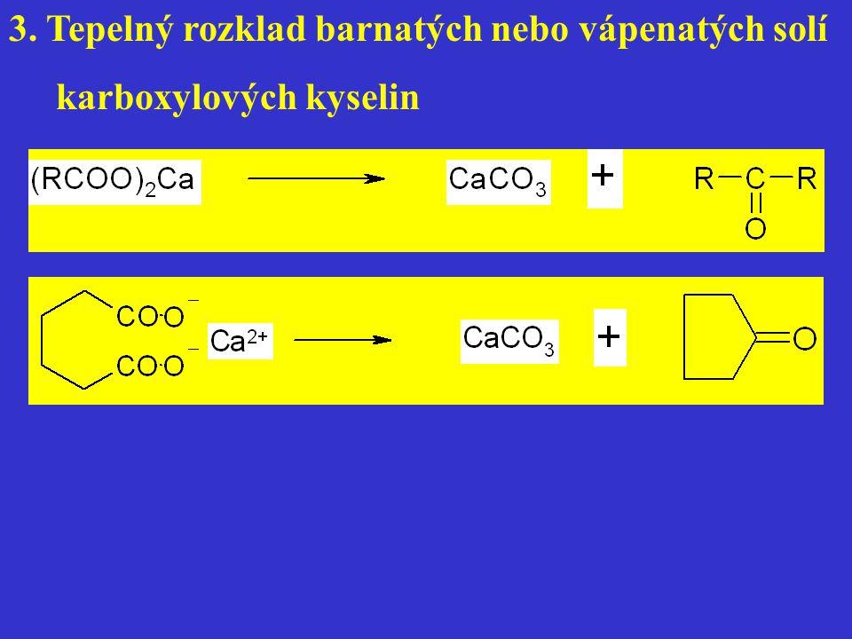 3. Tepelný rozklad barnatých nebo vápenatých solí