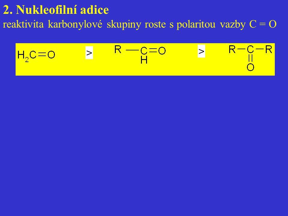 2. Nukleofilní adice reaktivita karbonylové skupiny roste s polaritou vazby C = O