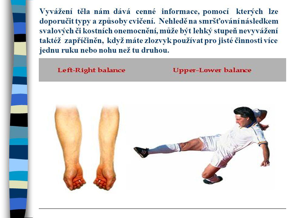 Vyvážení těla nám dává cenné informace, pomocí kterých lze doporučit typy a způsoby cvičení.
