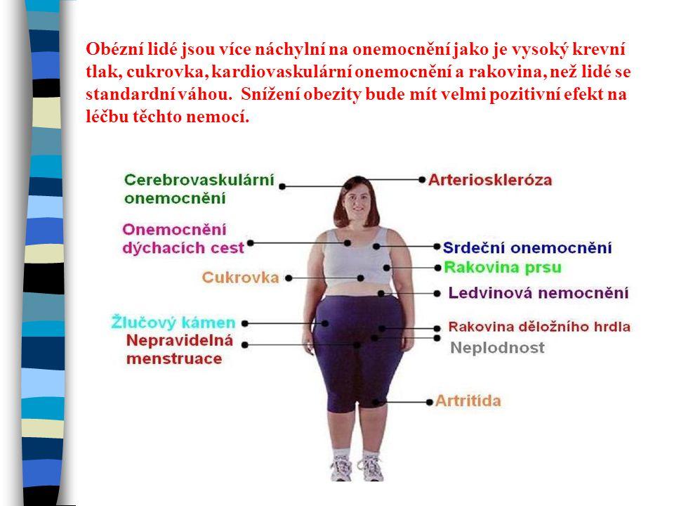 Obézní lidé jsou více náchylní na onemocnění jako je vysoký krevní tlak, cukrovka, kardiovaskulární onemocnění a rakovina, než lidé se standardní váhou.