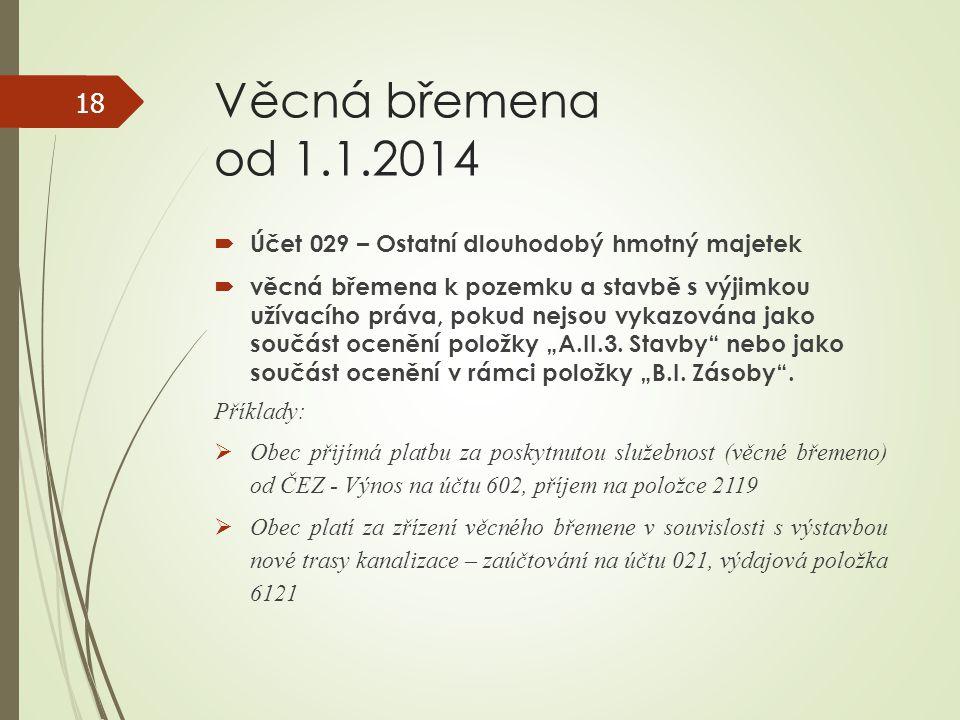 Věcná břemena od 1.1.2014 Účet 029 – Ostatní dlouhodobý hmotný majetek