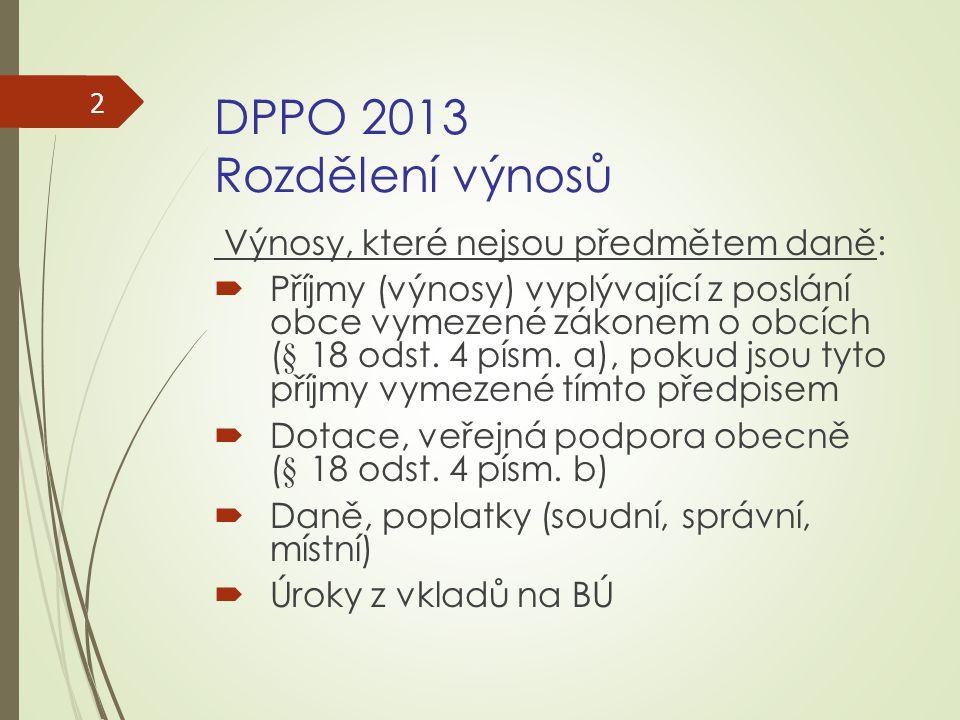 DPPO 2013 Rozdělení výnosů Výnosy, které nejsou předmětem daně: