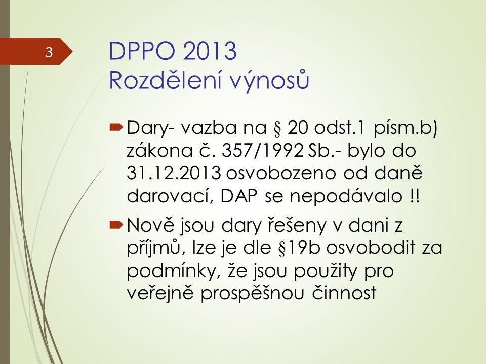 DPPO 2013 Rozdělení výnosů