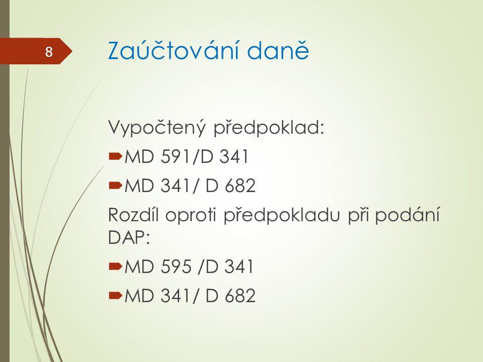 Zaúčtování daně Vypočtený předpoklad: MD 591/D 341 MD 341/ D 682