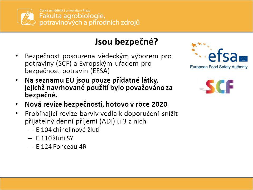 Jsou bezpečné Bezpečnost posouzena vědeckým výborem pro potraviny (SCF) a Evropským úřadem pro bezpečnost potravin (EFSA)