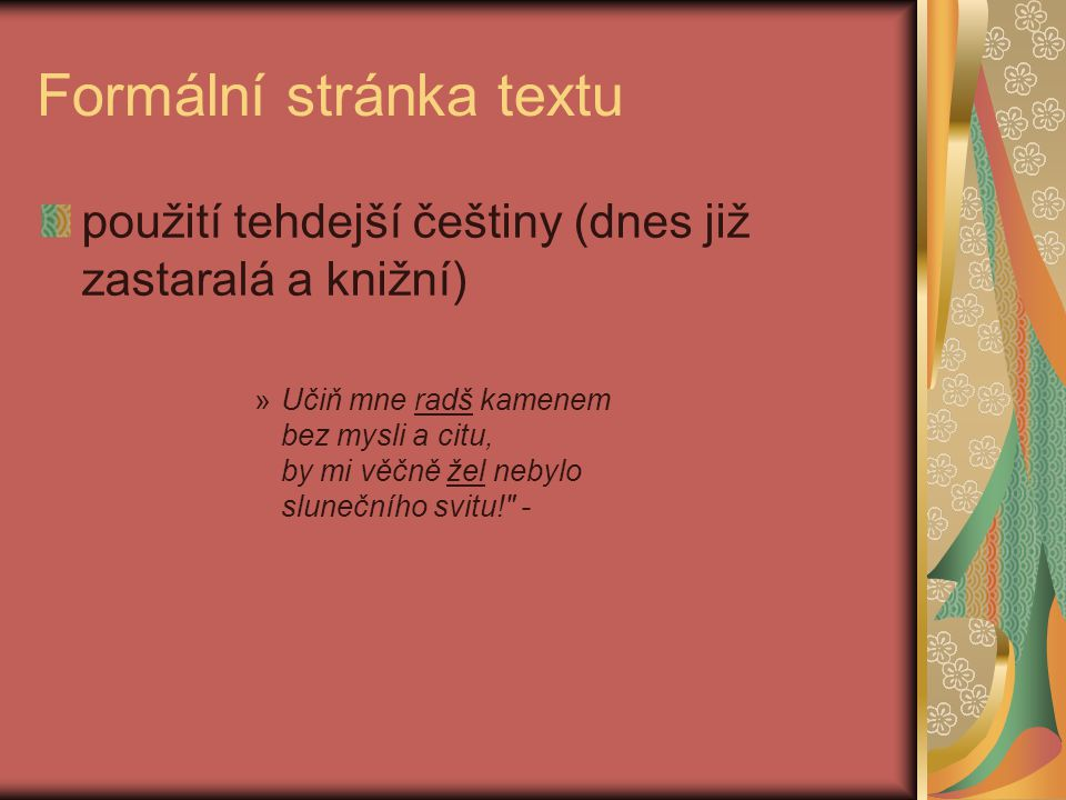 Formální stránka textu