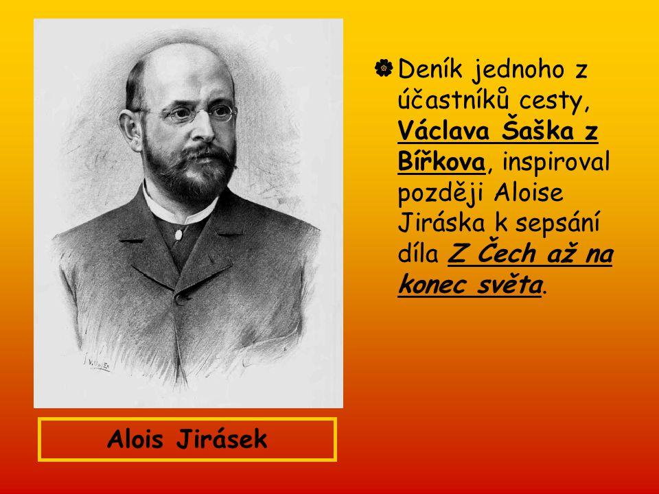 Deník jednoho z účastníků cesty, Václava Šaška z Bířkova, inspiroval později Aloise Jiráska k sepsání díla Z Čech až na konec světa.