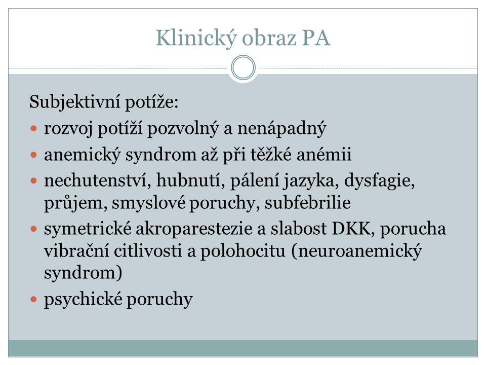 Klinický obraz PA Subjektivní potíže: