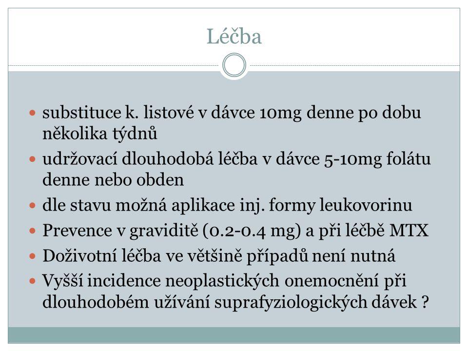 Léčba substituce k. listové v dávce 10mg denne po dobu několika týdnů