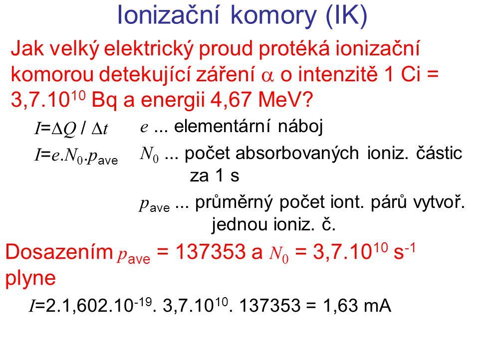 Ionizační komory (IK) Jak velký elektrický proud protéká ionizační komorou detekující záření  o intenzitě 1 Ci = 3,7.1010 Bq a energii 4,67 MeV