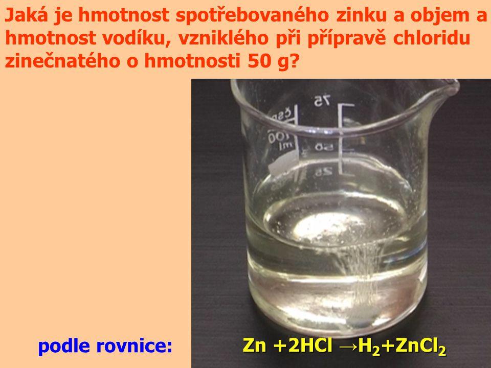 Jaká je hmotnost spotřebovaného zinku a objem a