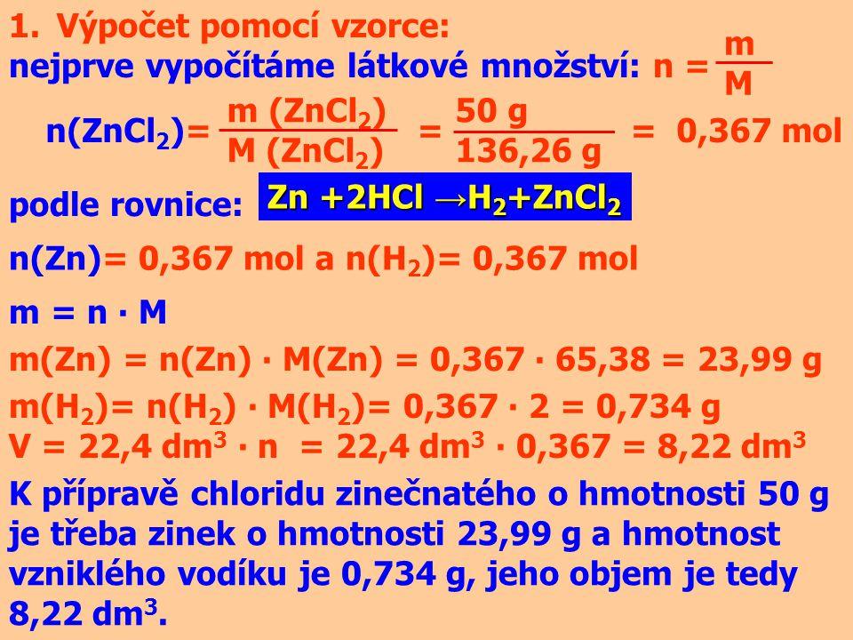 Výpočet pomocí vzorce: