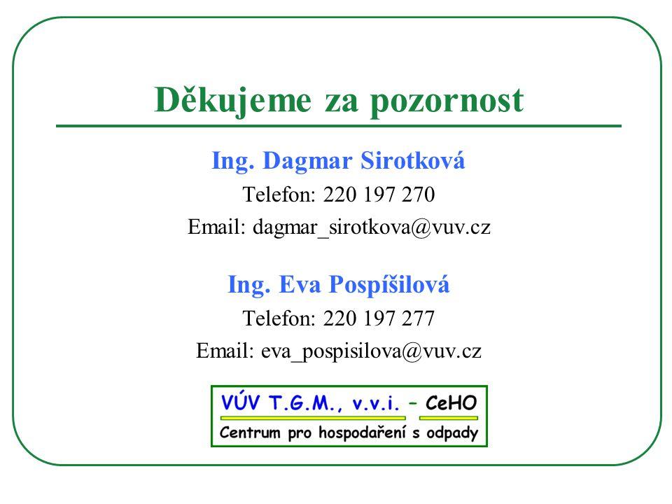 Děkujeme za pozornost Ing. Dagmar Sirotková Ing. Eva Pospíšilová