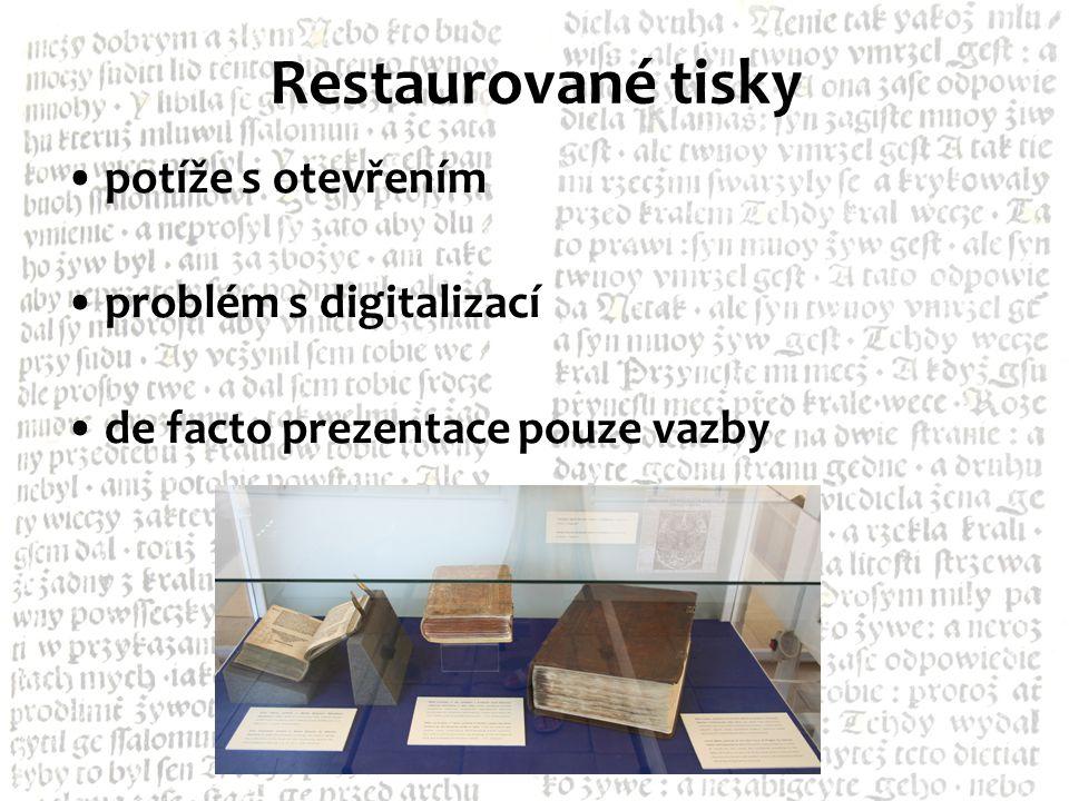 Restaurované tisky potíže s otevřením problém s digitalizací