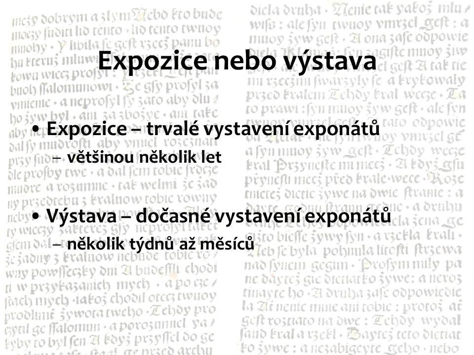 Expozice nebo výstava Expozice – trvalé vystavení exponátů