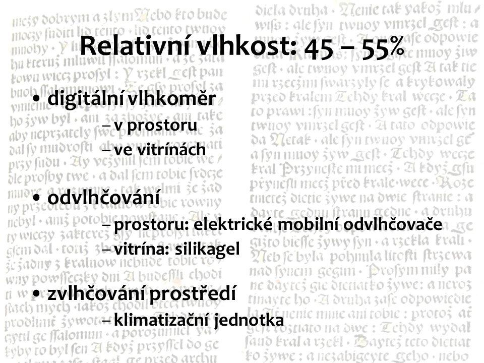 Relativní vlhkost: 45 – 55% digitální vlhkoměr odvlhčování
