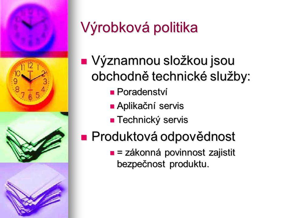 Výrobková politika Významnou složkou jsou obchodně technické služby: