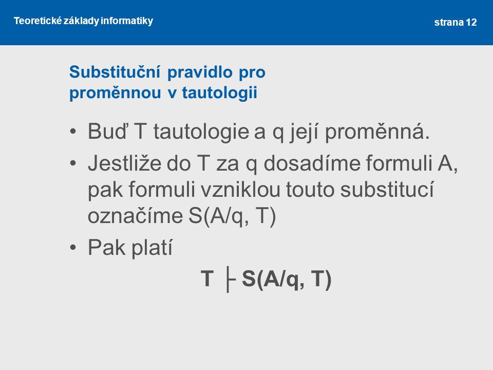 Substituční pravidlo pro proměnnou v tautologii