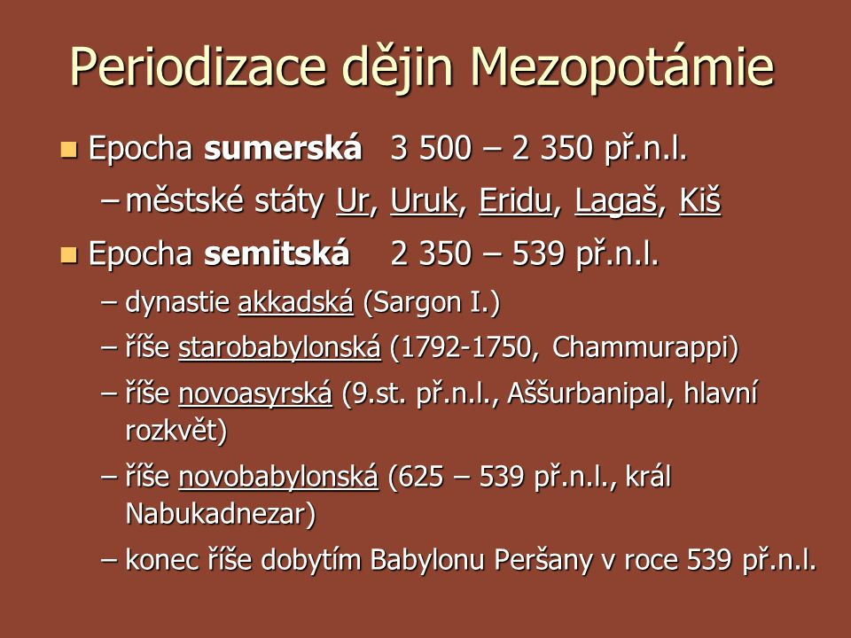 Periodizace dějin Mezopotámie