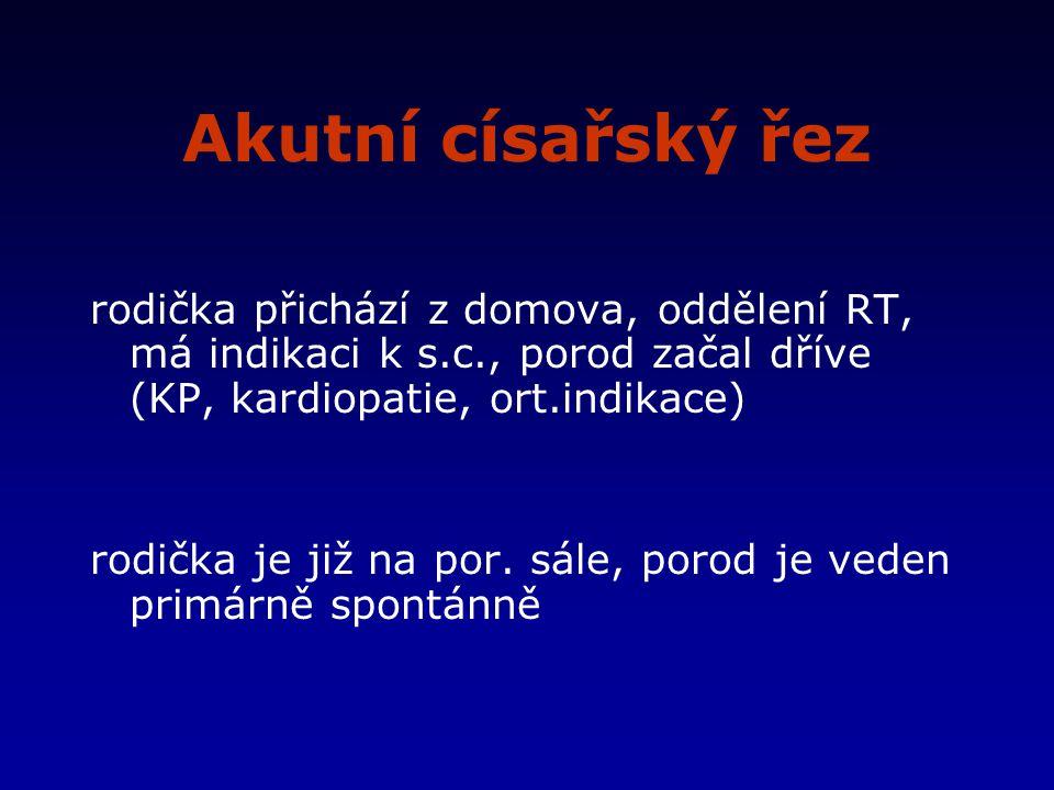 Akutní císařský řez rodička přichází z domova, oddělení RT, má indikaci k s.c., porod začal dříve (KP, kardiopatie, ort.indikace)