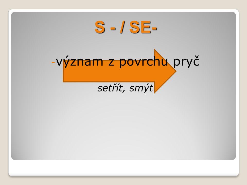 S - / SE- význam z povrchu pryč setřít, smýt