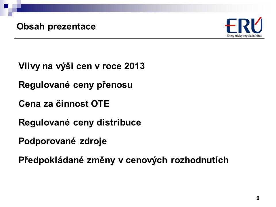 Obsah prezentace Vlivy na výši cen v roce 2013. Regulované ceny přenosu. Cena za činnost OTE. Regulované ceny distribuce.