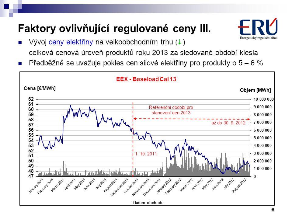 Faktory ovlivňující regulované ceny III.