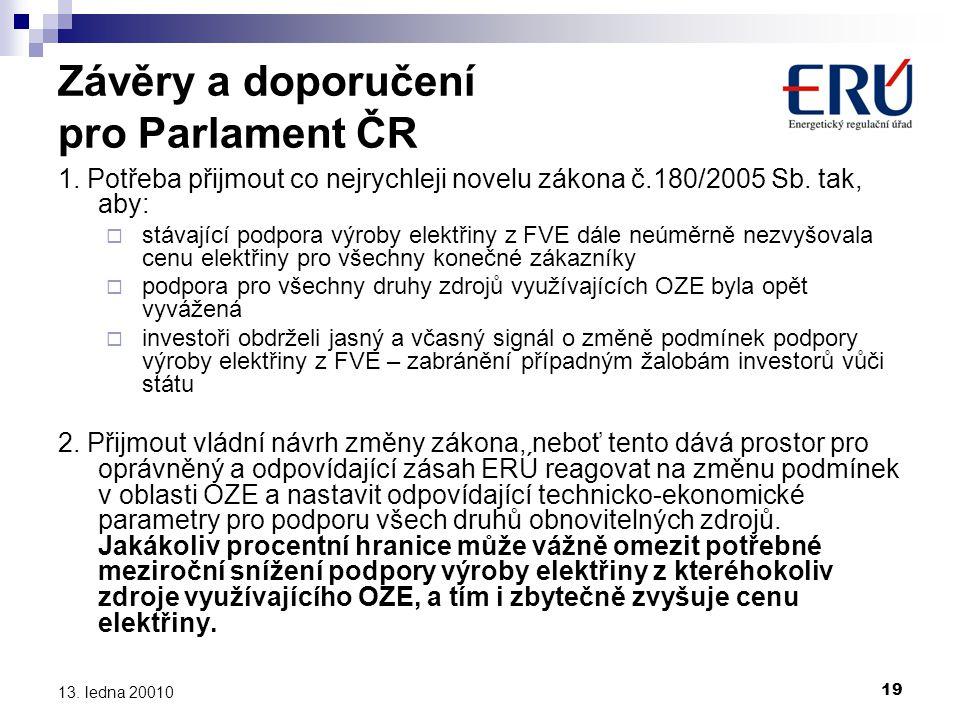 Závěry a doporučení pro Parlament ČR