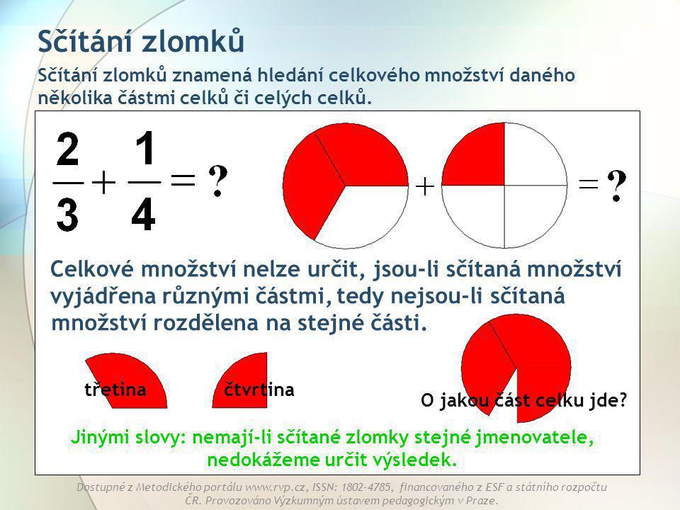 Sčítání zlomků Sčítání zlomků znamená hledání celkového množství daného několika částmi celků či celých celků.