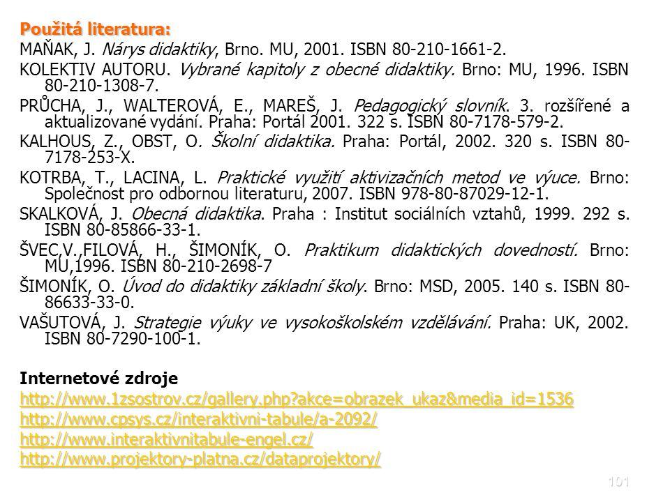 Použitá literatura: MAŇAK, J. Nárys didaktiky, Brno. MU, 2001. ISBN 80-210-1661-2.