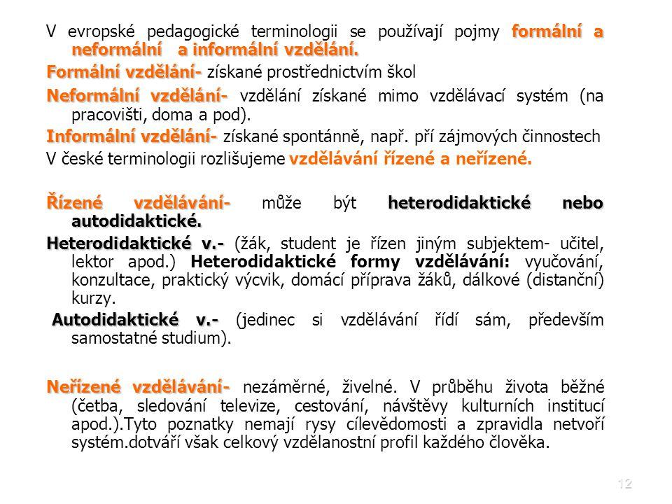V evropské pedagogické terminologii se používají pojmy formální a neformální a informální vzdělání.